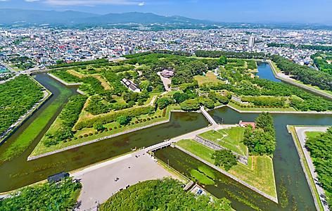 Aerial view of Goryokaku Park, a star shaped fort in Hakodate, Japan