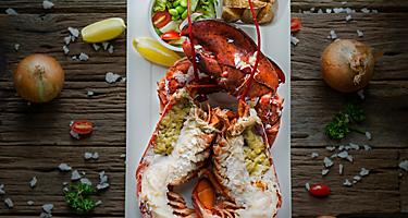 A plate of steamed lobster