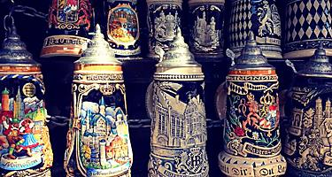 An assortment of souvenir beer steins in Germany