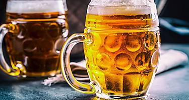 Beer in glass mugs in Germany