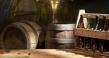 Old wooden beer kegs