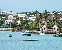 Boats and colorful architecture along the shoreline in Hamilton, Bermuda