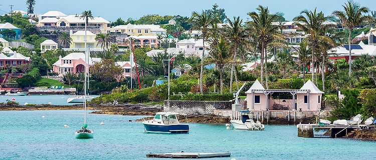Boats and colorful architecture along the shoreline in Hamilton, Bermuda
