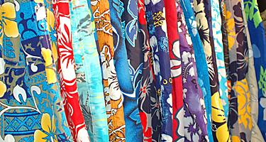 Swimming shorts trunks with floral patterns from a shop in Hamilton, Bermuda