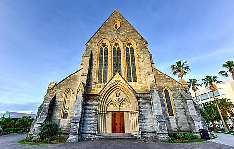 Front view of the Cathedral of the Most Holy Trinity, also known as the Bermuda Cathedral, an Anglical cathedral on Church Street in Hamilton, Bermuda