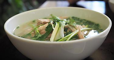 Pho ga, the chicken variety of pho (pho bo), a specialty in Hanoi, Vietnam