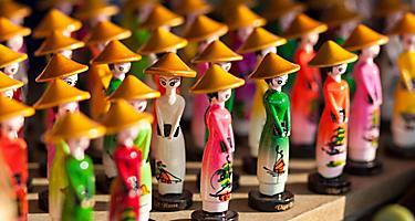 Traditional souvenir dolls sold in Hanoi, Vietnam