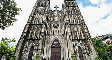 Front view of St. Joseph's Cathedral in Hanoi, Vietnam
