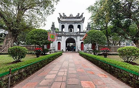 The garden and entrance gate to the Temple of Literature in Hanoi, Vietnam