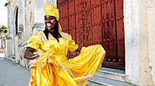 Native woman dressed as Oshun Goddess in Havana, Cuba