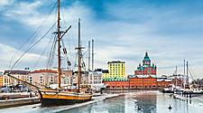 View of the Helsinki, Finland from the harbor where a vintage ship is docked