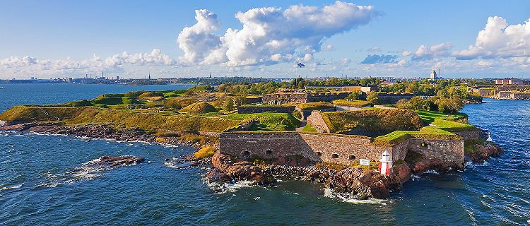 Aerial view of the Suomenlinna Fortress in Helsinki, Finland