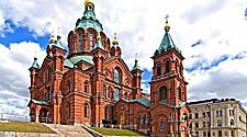 Exterior of the Upsenski Cathedral in Helsinki, Finland