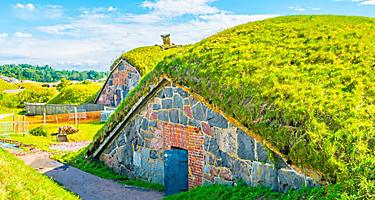 A grass covered building in Suomenlinna Fortress in Helsinki, Finland
