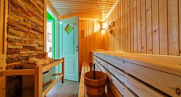 The interior of a wooden sauna