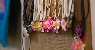 An assortment of coco beach necklaces