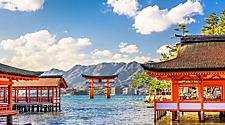 Floating shrine over the water in Hiroshima, Japan