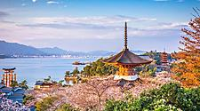 Views of Hiroshima with lush Spring landscape