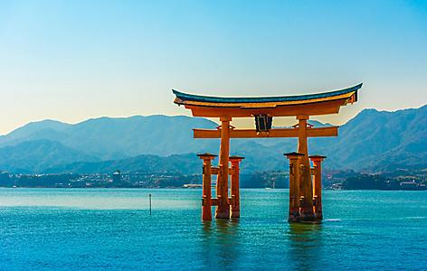 Tori gate of Itsukushima Shrine on Miyajima Island, Hiroshima, Japan