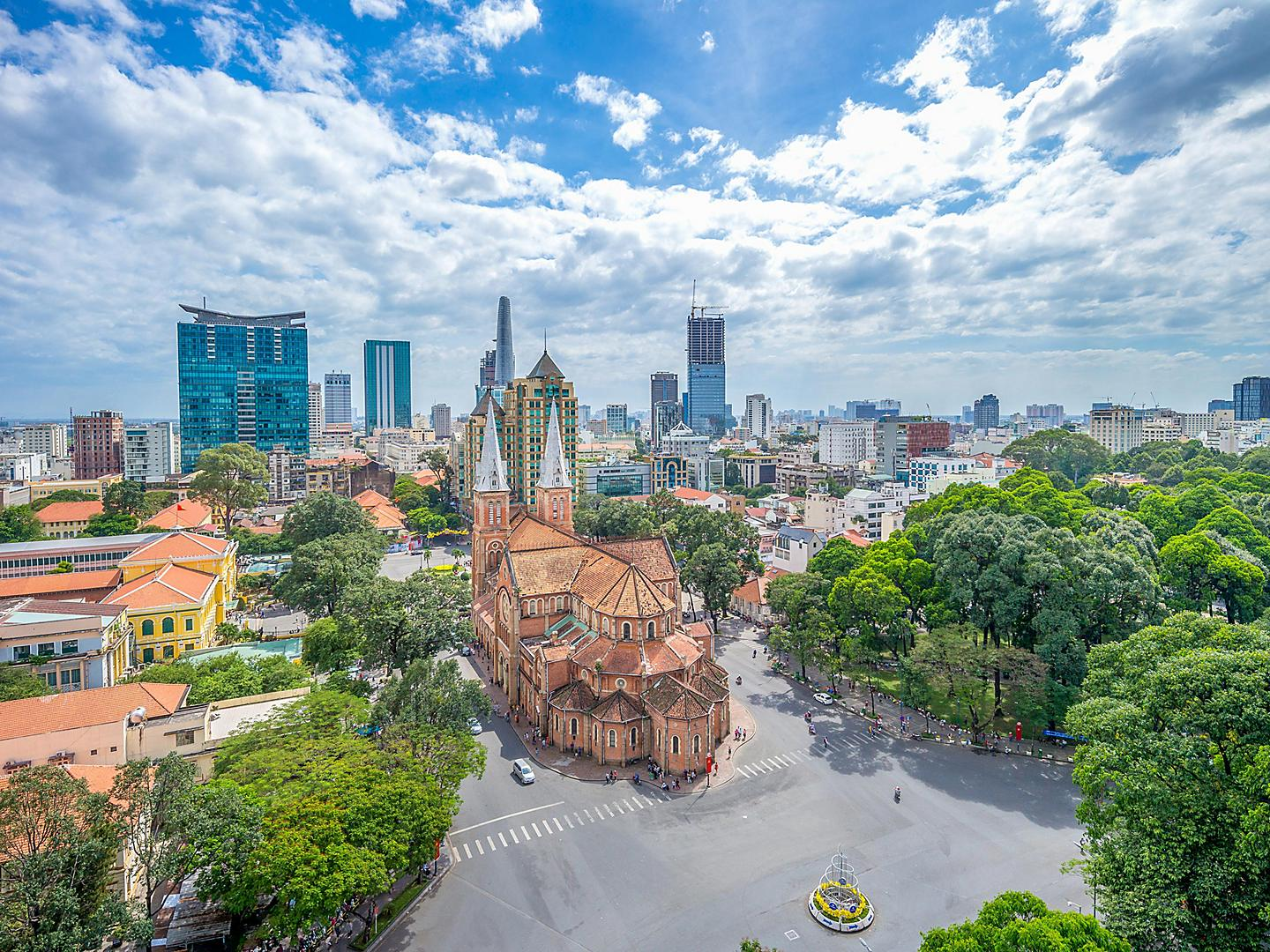 Ho Chi Minh, Vietnam Aerial View of Notre Dame