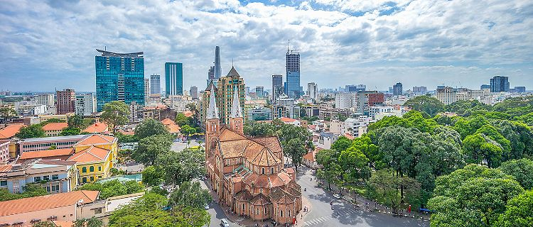 Aerial view of Notre-Dame Cathedral Basilica of Saigon in Ho Chi Min, Vietnam