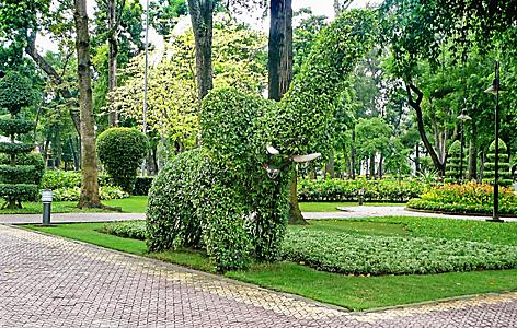 Topiary elephant in a botanical garden, Saigon, Vietnam