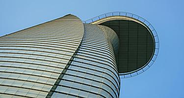 Bitexco Financial Tower, the tallest building in Vietnam,  view from below looking up