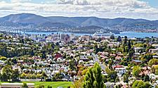 Aerial view of the city of Hobart, Tasmania with a cruise ship in the ditance