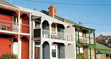 Weatherboard Homes on a suburban street in Hobart, Tasmania, Australia