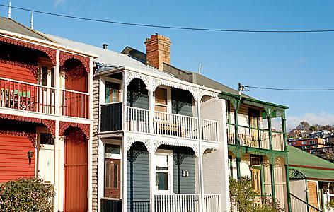Weatherboard Homes on a suburban street in Hobart, Tasmania, Australia
