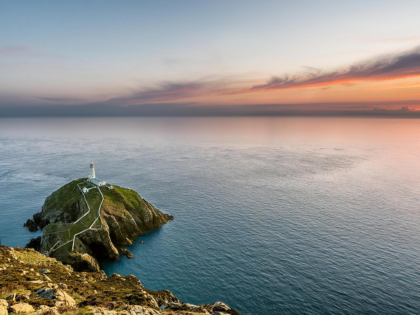 Holyhead, Wales, Aerial View of South Stack Lighthouse