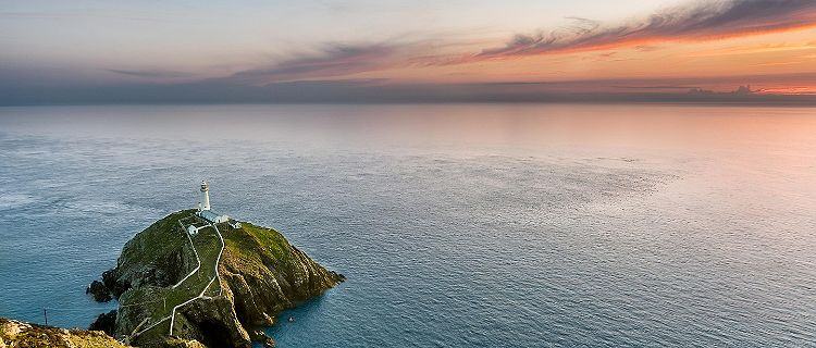 An aerial view of the South Stack lighthouse in Wales