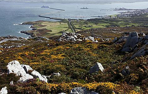 The view of Holyhead and the harbor from the top of Holyhead mountain