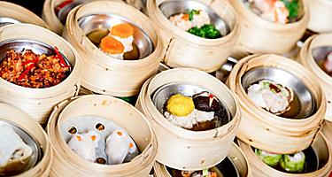 Delicious array of dim sum in bamboo steamers in Hong Kong, China