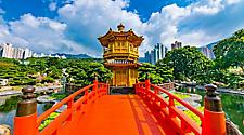 The Golden Pagoda of Nan Lian garden in Hong Kong