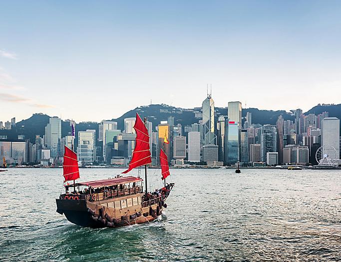 Hong Kong, China Victoria Harbor Sailboat