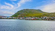 A view of Honningsvag, Norway from the sea