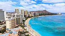 Aerial view of Waikiki Beach in Honolulu, Hawaii