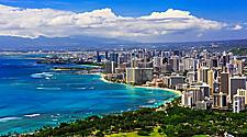 Aerial view of the Honolulu, Hawaii coast and skyline