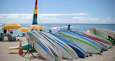 Various surfboards on Waikiki Beach