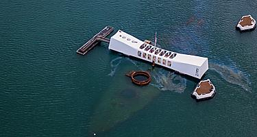An aerial view of the USS Arizona memorial at Pearl Harbor
