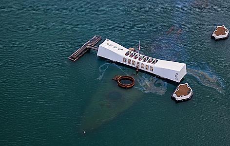 An aerial view of the USS Arizona memorial at Pearl Harbor