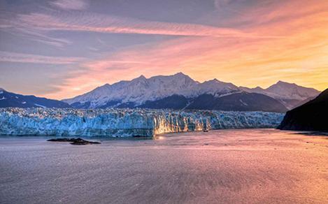 hubbard glacier alaska sunset icebergs