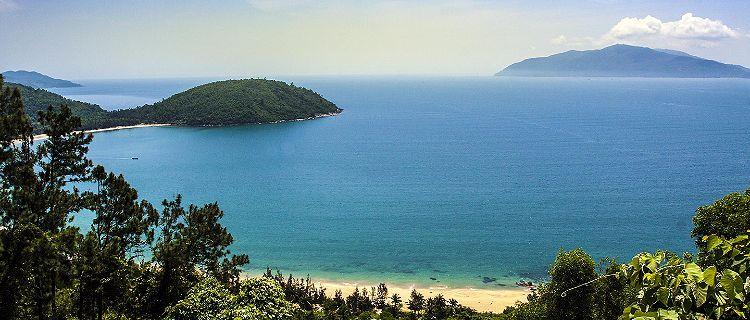 Ocean view from mountains overlooking the Hai Van Pass in Vietnam