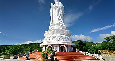 A majestic giant white buddha at Danang, Vietnam