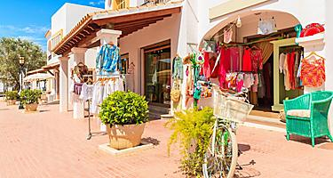 Various shops in Ibiza, Spain with outdoor displays