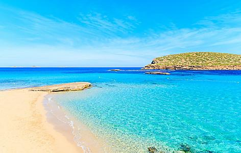 Cala Comte beach in Ibiza, Spain