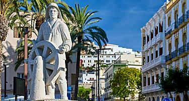 A statue of a sailor in Ibiza, Spain