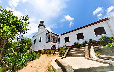 Stairway leading up to Cape Bojeador Lighthouse in Ilocos, Philippines
