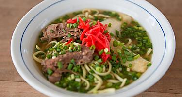 Yaeyama soba noodle soup from Ishigaki, Japan
